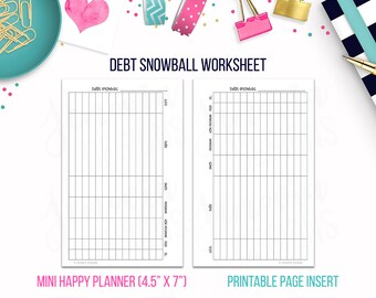 Mini HP: Debt Snowball Worksheet • Budget Binder Printable Page Insert for MINI Happy Planner® sized Discbound or Ringbound Planners