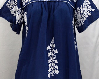 """Mexican Peasant Top Blouse Hand Embroidered: """"Lijera"""" Denim Blue + White Embroidery ~ Size MEDIUM"""