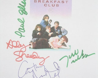 The Breakfast Club Signed Film Movie Script Screenplay X7 Autographs Emilo Estevez John Hughes Ally Sheedy Anthony Michael Hall Judd Nelson