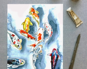 Koi fish watercolour print