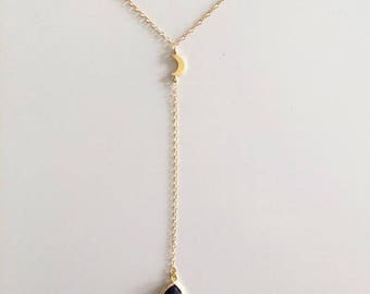 Blue Sand Luna Crescent Moon Lariat Necklace Y Necklace 14k Gold Filled
