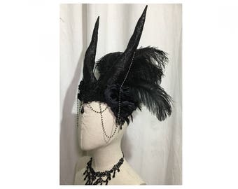 Handmade hat with hand molded swirl horns roses lace feathers and decorations