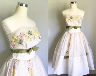 1950s White Strapless Floral Party Dress Size Medium | 50s White Floral Dress