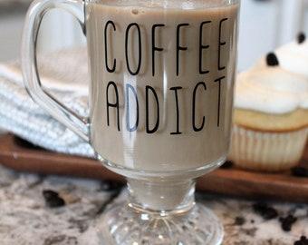 Coffee Addict Glass Mug