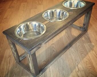 Triple Industrial Raised Dog Feeder, Feeding Stand,  Three Bowl Elevated Feeder