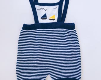 Sweet Little Vintage Knit Sailor Overalls/Romper