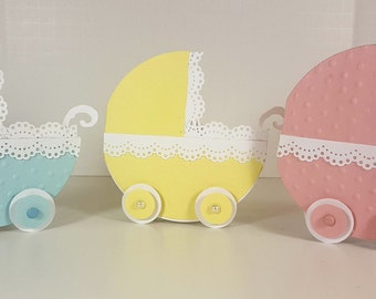 Handmade Baby Carriage Card - Baby Shower Card - Congratulations Baby Card