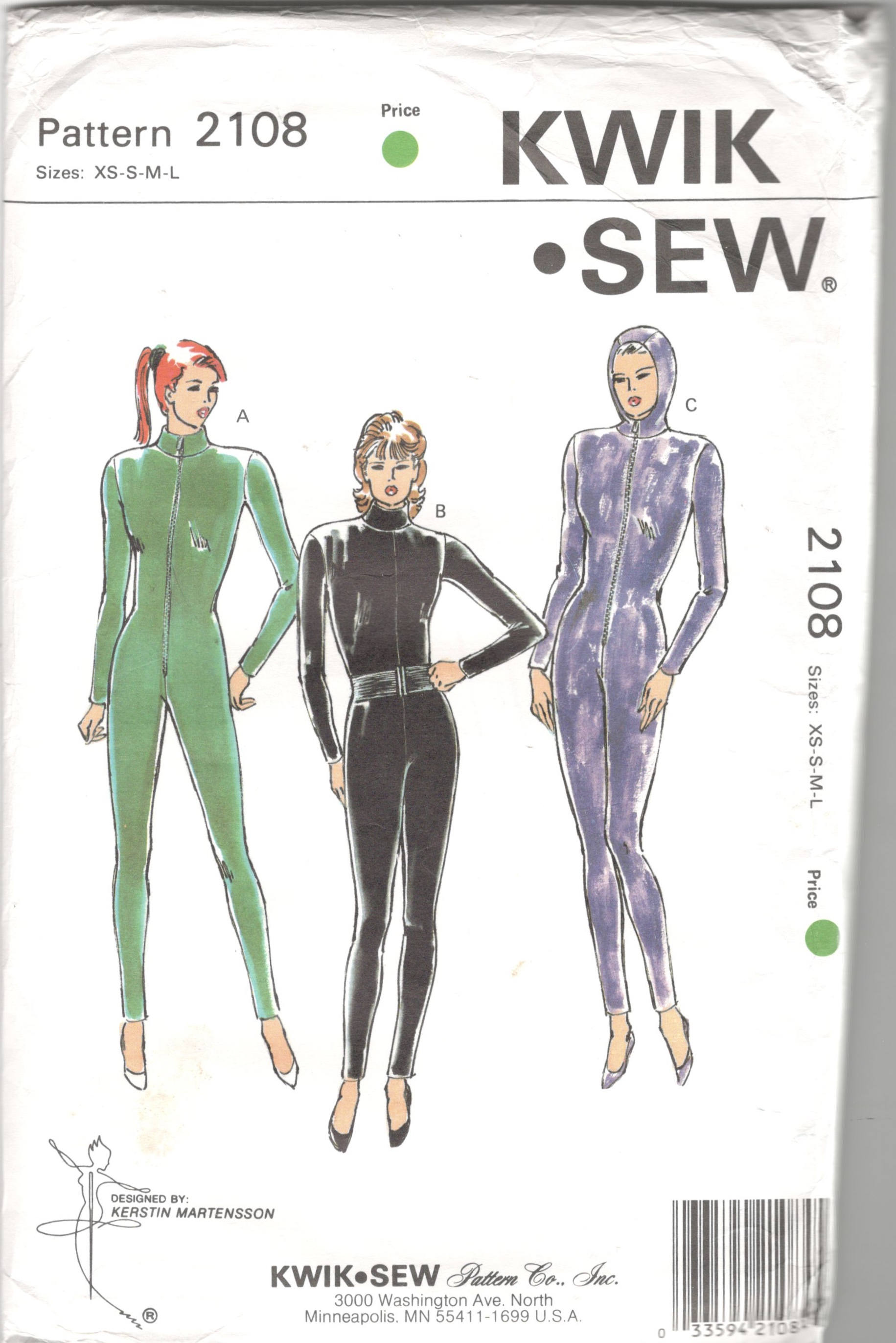 Kwik sew 2108 misses sexy cat suit pattern zip front or back hood sold by mbchills jeuxipadfo Gallery