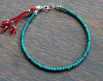 Kingman Turquoise Bracelet, Turquoise Beaded Bracelet, Boho Chic Gemstone Tassel Bracelet, Beaded Tassel Bracelet, Dainty Gemstone Bracelet