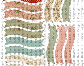 Romantic Victorian Vintage Banners Bases Digital Collage sheet Printable