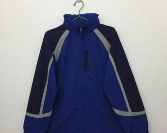 15% SALE Vintage LL Bean Windbreaker/LL Bean Zip Up Hide Away Hoodie Jacket/Outdoor Hiking/Blue/Size L