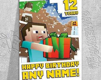 PERSONALISED BIRTHDAY CARD - Steve Winter Bordered - Minecraft Themed