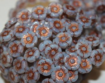 Pretty little dove grey and bronze Czech glass flower beads, 11mm. Sold in a package if 10.