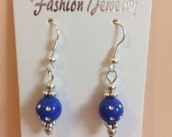 Blue bead with silver dot light drop earrings