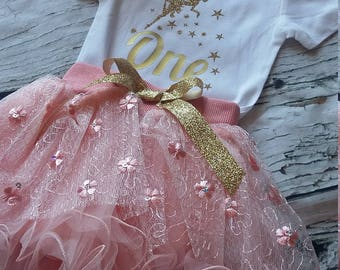 1st Birthday Girl- 1st birthday outfit-Pink and Gold outfit-Fairy Theme- Cake Smash - 1st Birthday Girl Outfit- First Birthday Outfit
