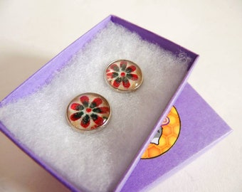 Glass Flower Studs