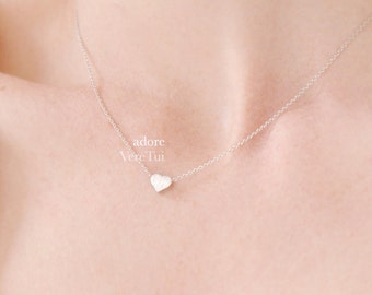 Minimal Dainty Pretty Simple Silver Heart Necklace