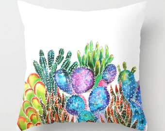 Cactus pillow watercolor cactus cushion cover succulents accent pillow Rustic Home Decor Decorative Pillow succulent.pillow cover botanical