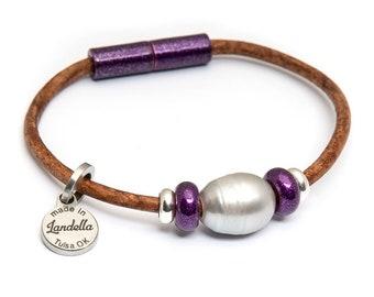 Ultra Violet Leather Magnetic Landella Freshwater Pearl Trio Bracelet