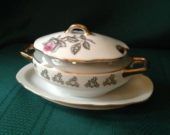 Vintage Tiny Soup Tureen - Japan - Rose with Gold Trim Sugar Bowl Attached Underplate Miniature
