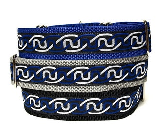 Blue Martingale collar, CELTIC INFINITY KNOT, greyhound collar, sighthound collar, Celtic dog collar, greyhound martingale, dog collar