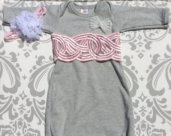 Lace Gown,Take Home Outfit, Newborn Gown, Gray Newborn Outfit, Gray Newborn Gown, Baby Layette Gown, Gray Newborn Outfit, Gray Gown