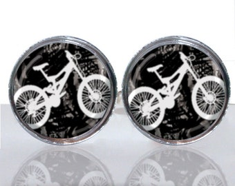 Mountain Bike Cyclist Round Glass Tile Cuff Links