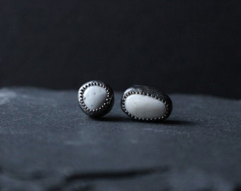 Ready To Ship - White Buffalo Turquoise Sterling Silver Earrings #002 | DECEMBER Birthstone | Studs Post | GUGMA Women's Minimalist Jewelry