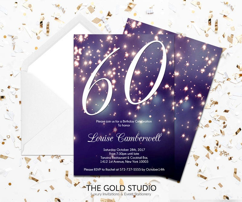 60th Birthday Invitation | Blue Purple Sparkle Glamorous modern 60 ...