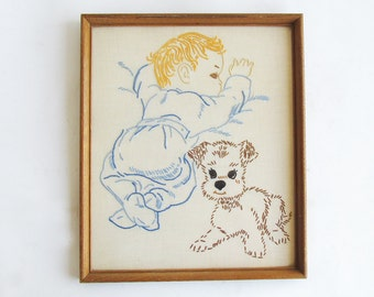 "Vintage Hand Embroidered Baby & Puppy ""Framed and Ready for Your Retro Themed Nursery"""