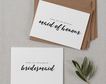 7 x Bridesmaid Thank You Card, Thank You For Being My Maid of Honor, Thank You Card Bridesmaid, Bridesmaid Gift, Thank You Wedding Cards, K8