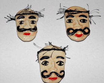 Handmade Ceramic Cretan Man Magnet Gift Wrap Greek Souvenirs, Kitchen Fridge Magnet Traditional Greek Men Faces, Man with mustache magnet
