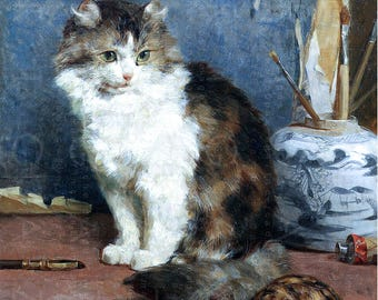 Lovely Cat & Turtle. Stunning Victorian Cat Painting. Vintage Kitty Digital Download. Vintage Cat Printable Image.