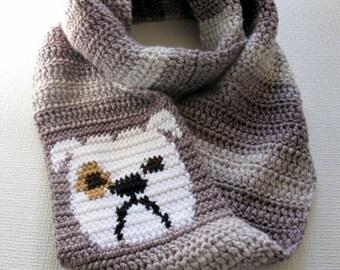 Bulldog Scarf. Chunky crochet circle scarf with English bulldog. Striped dog infinity scarf. Bulldog gifts