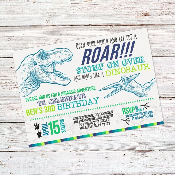 Dinosaur Birthday Invite Dinosaur Birthday Invitation
