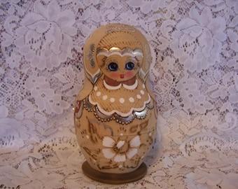 Russian Matryoshka Wood Burnt Nesting Dolls