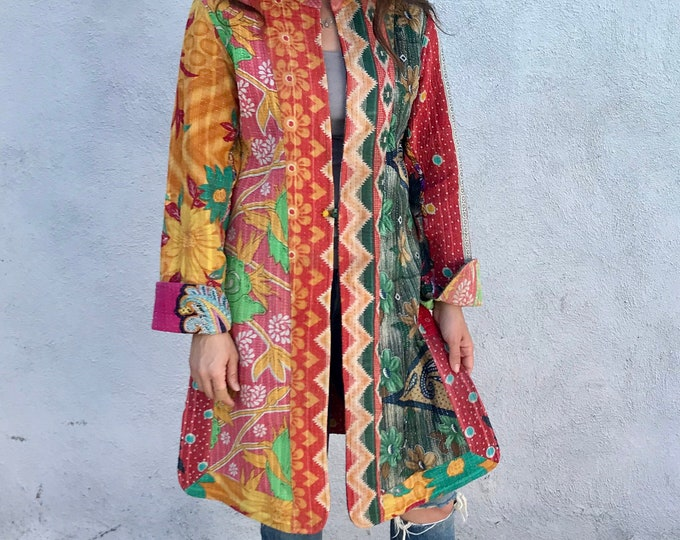 Stunning reversible quilted cotton duster