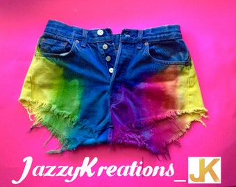 """Rainbow Shorts Ombre Summer Birthday Gift for High Waisted Baby Phat Colorful Tie Dyed Hipster Festival Fringed Denim Shorts - """"Free Spirit"""""""