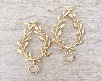 LAUREL | Laurel Wreath Earrings | Blush Bridesmaid Earrings | Peach Bridesmaid Earrings | Gold Teardrop Earrings | Gold Leaf Earrings