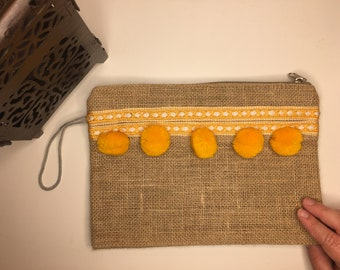 Burlap pouch - Yellow