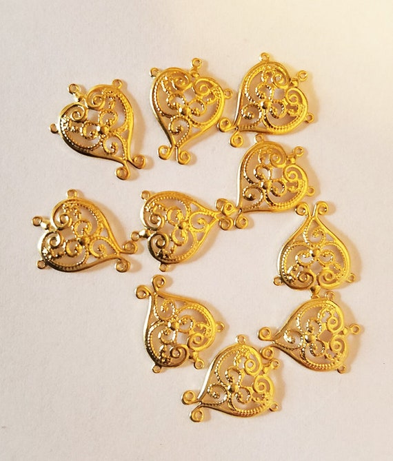 10 filigree heart charms gold plated pendant 12mm x 15mm jewelry supply findings