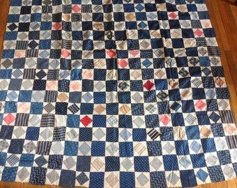 Antique 19th c scrap patchwork quilt top predominately blue, Diamond in the Square pattern