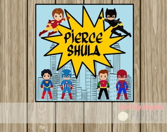 Personalized Superhero enclosure card, kids birthday tag, calling card, hang tag, birthday card, digital printable