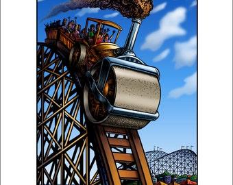 "Steam Roller Coaster 11"" x 14"" Whimsical Roller Coaster Art Print"