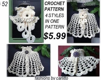 SHAWL PATTERN, CROCHET, cowl, scarf, cape, num 52, all in one pattern, clothing, accessories, jacket, sweater, instant download