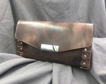 Charcoal and brown distressed leather clutch