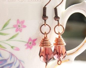 Purple Crystal Copper Wire Wrapped Drop Earrings