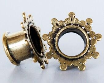 Gauri Brass Plugs - Ear Plugs - Ear Gauges - Tribal Plugs - Indian Plugs - Piercing Plugs - Gauge Jewelry - Ear Tunnel - Brass Tunnel (BT6)