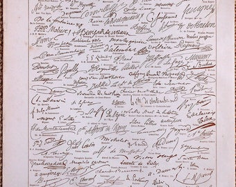 SIGNATURES of famous people. Provenance Larousse 1900 double-sided engraving Board