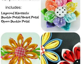Huge Sale ... Kanzashi Fabric Flower Tutorial Bundle ...  includes 3 flowers